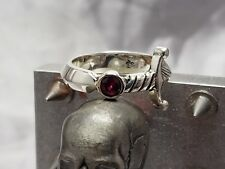 Sterling Silver Ring, Sword ring, w/synthetic ruby, nice style,sizeable 7-13