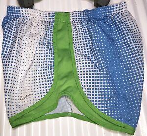 NIKE DriFit Tempo Shorts Women's Size S Blue/White Polka Dot/Green W/ Green Trim