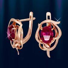Russische Rose Rotgold 585 Ohrringe mit Rubin  4.87g . Neu  Glänzend.