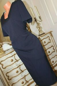 MARKS & SPENCER Navy Blue Fitted Fully Lined Ladies Dress Size 16 Long  *NEW*