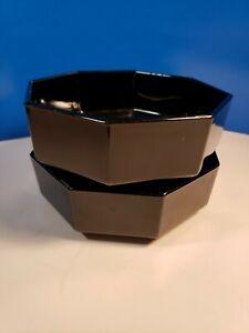 "2  Arcoroc Black Glass Bowl Octagon 5.5"" Marked France Made Vintage Salad Soup"
