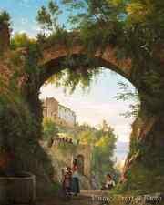 Italians Under Aquaduct by Carl F Aagaard - Art Town Women Lake  8x10 Print 0573