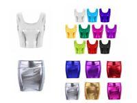 Women Shiny Metallic Tank Crop Top Mini Skirt Bustier Blouse Night Club Lingerie