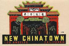 ORIGINAL VINTAGE TRAVEL DECAL NEW CHINATOWN LOS AGNELES CA AUTO TRAILER OLD RV