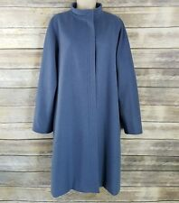 Max Mara Size 10 Womens Dusty Blue Wool Trench Winter Coat Cashmere  High Neck