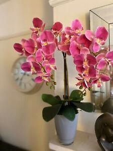 PINK ORCHID & LEAVES ARTIFICIAL FAUX FLOWERS ARRANGEMENT, GREY GLASS POT, MOSS