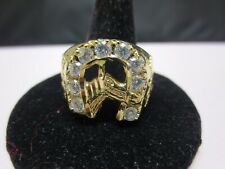 SIZE 13, 14 KT GOLD PLATED MENS LUCKY HORSESHOE CLEAR CZ RING