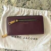 Marc Jacobs Gotham Travel Large Zip Around Wallet Iris Purple Burgundy Leather