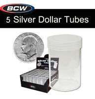 5 BCW Round Tubes Coin Storage for Large Dollar Size w/ Screw On Caps Clear Top