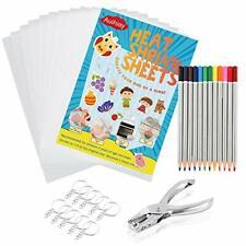 33 PCS Heat Shrink Plastic Sheet Kit Include 10 PCS Shrinky Paper, Hole