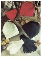 Hat, Mitts & Gloves knitting pattern in DK. Sizes to fit all ages. beanie hat