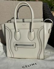 Authentic Celine Micro LUGGAGE Bag in White Satin Calfskin leather NEW, Unworn!
