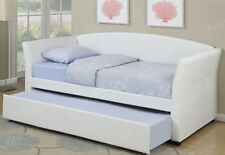 NEW ALVA CLASSIC WHITE TUFTED BYCAST LEATHERETTE DAY BED W/ UNDERBED TRUNDLE BED