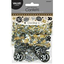 30th Birthday Confetti Table Decoration Sprinkle Black Silver Gold Age 30 Party