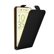 SLIM BLACK Leather Flip Case Cover Pouch For Mobile Phone Sony Xperia X