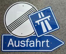 GERMAN AUTOBAHN SIGNS  / Three Piece Aluminum Set - ONE PRICE - FREE SHIPPING !