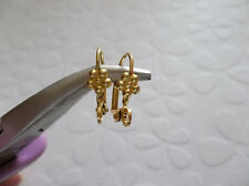 Brass Leverback Earwire w 5mm Daisy Flower 16mm Earring Findings Hooks w Loop