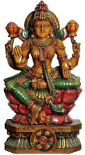 "Masterpiece Wood Carved Lakshmi Bless Lotus Jai God 35""Large Hindu Statue 27.9KG"