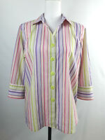 FOXCROFT Multi Striped Color Shape Fit Wrinkle-Free Cotton Blend Shirt Size 14P