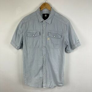 G-Star Mens Button Up Shirt Size Large Blue Short Sleeve Collared Snap Button