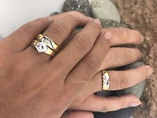 Two Tone Gold Over Matching Hearts Lab Diamond Trio Wedding Band Ring Set 2 CT