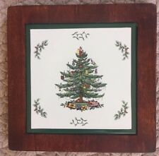 """Spode Christmas Tree 8x8"""" square WOODEN TRIVET Holiday Green Trim serving dishes"""