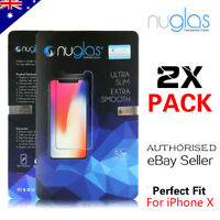 2 x GENUINE NUGLAS Tempered Glass Screen Protector For Apple iPhone X