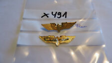 Schirmmützen Abzeichen Eisenbahn Schwinge golden ca 43mm 1 Paar (x491)
