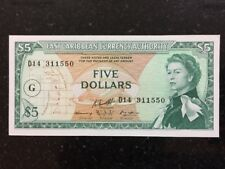 Easy Caribbean Currency Authority 5 Pounds G Overprint UNC