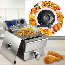 Professional Electric 10L Deep Fryer Timer & Drain Stainless Steel Restaurant