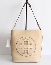 NWT TORY BURCH PERFORATED LOGO LEATHER HOBO SAND DUNE TORY NAVY