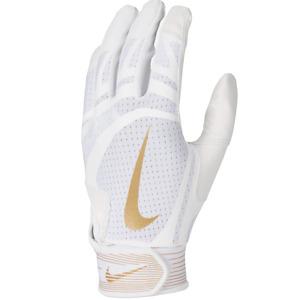 Nike Youth Huarache Edge Batting Gloves Pair WHITE   GOLD YTH LG
