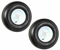 TWO (2) New 5.70-8 Heavy Duty 4PLY Trailer Tires on 4 Hole White Wheels LRB 5708