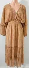 Sportsgirl Dress Size 8 Brown Beige Gold Leopard Print Kaftan Maxi