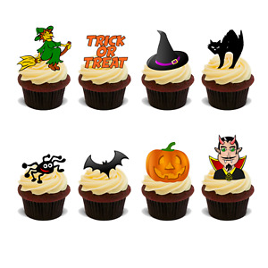 HALLOWEEN SPOOKY SCARY PREMIUM 40X FLAT RICE CARD STANDUP Edible Cake Toppers D1