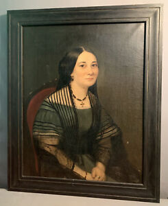 LG Ca.1850 Antique VICTORIAN Era ENGLISH LADY Mourning PORTRAIT Old OIL PAINTING