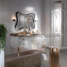 Mobile Bagno Barocco Due Lavelli Massello Top Cristallo Foglia Oro Lusso Swaro