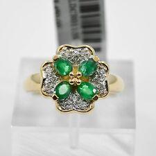 Emerald & Diamonds Clover Flower Ring 14K Yellow Gold 4.5grams SIZE 7