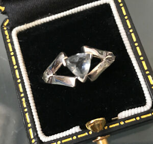 Women's 9ct White Gold Aquamarine Stone Ring Size N Stamped Weight 3.5g Quality