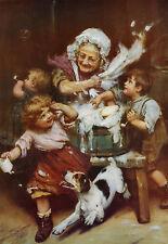 "FOXHOUND DOG FINE ART PRINT - Arthur J Elsley ""Bathtub"" Victorian Children"