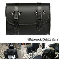 Neu Motorrad Satteltaschen Seitentasche Rückseite Tasche Leder Taschen Schwarz