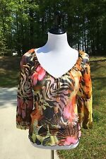 Cache Silk Sheer Womens Floral Blouse Light Bead Tie S Small Animal Print