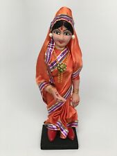 Vintage Hand Made Antique Middle East Indian Woman in Sari Doll on Wooden Stand