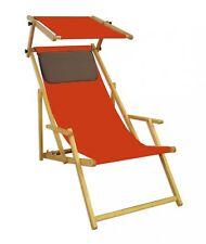 Lit Soleil Chaise de Jardin Orange Hêtre Plage Toit Ouvrant Coussin 10-309 N S
