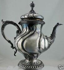 ANTIQUE SILVER PLATE TEA/COFFEE/CHOCOLATE POT FOOTED ORNATE SWIRL/FEATHER/LEAF