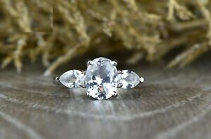 3ct Oval Cut Diamond Engagement Ring 14ct White Gold Over Three Stone Solitaire