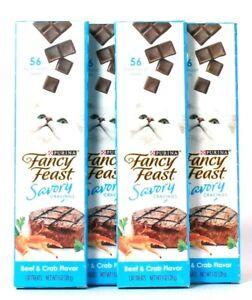 4 Purina Fancy Feast 1 Oz Savory Cravings Beef & Crab 56 Break Apart Cat Treats