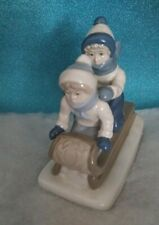 "Vintage Holiday Christmas Porcelain Figure ""Children Sled Ride "" Paul Sebastain"
