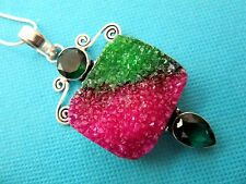 925 Sterling Silver Pendant With Natural Large Pink & Green Druzy   (nk1531)