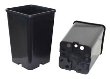 145mm Square 220mm Extra Deep Black Plastic UV Stabilized Garden Plant Pot x 30